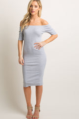 Heather Grey Ribbed Off Shoulder Fitted Maternity Dress