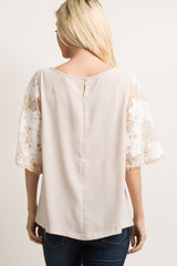Taupe Solid Lace Sleeve Crochet Trim Top