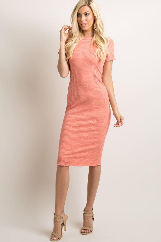 Coral Faded Ribbed Fitted Dress
