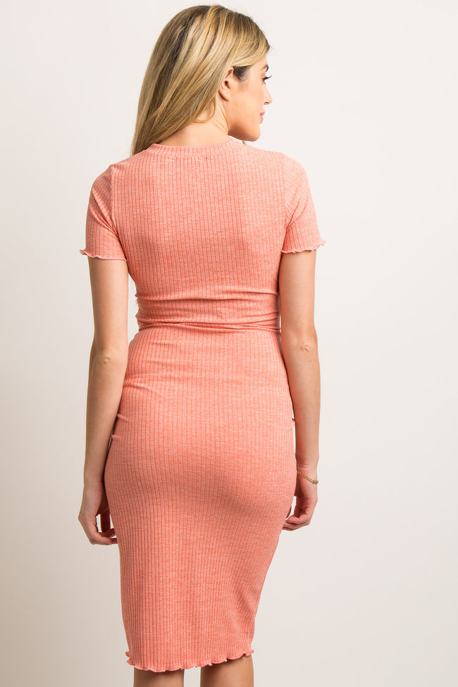 Coral Faded Ribbed Fitted Maternity Dress Pinkblush