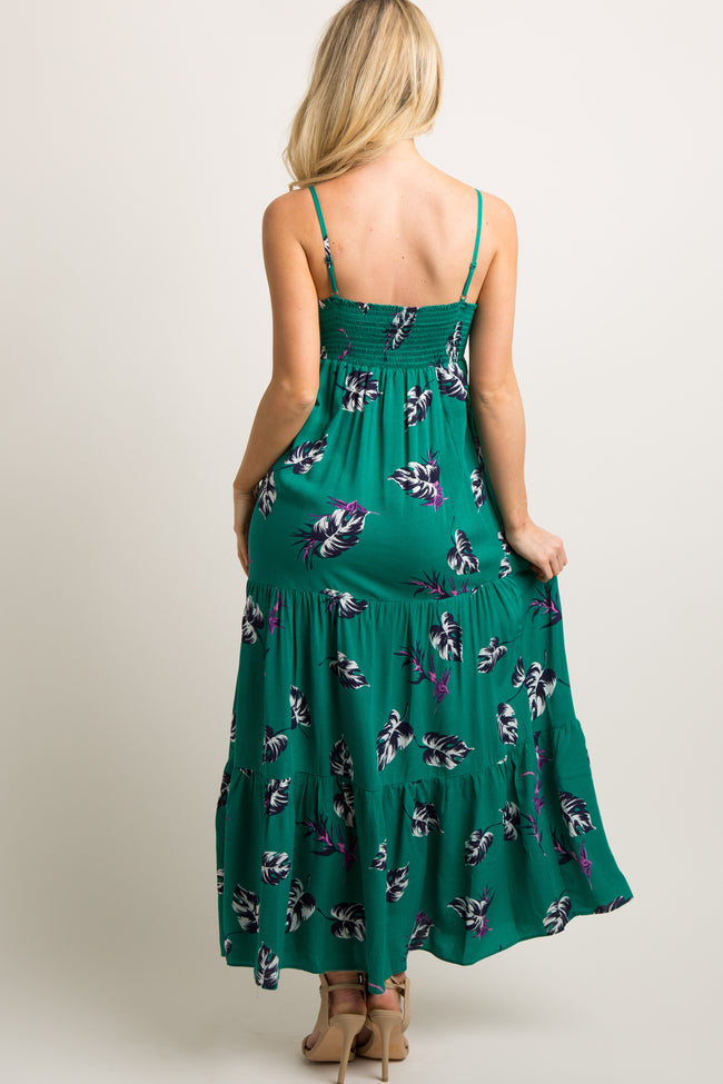 Green Leaf Print Cutout Tie Front Tiered Maxi Dress