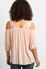 Peach Solid Strappy Open Shoulder Maternity Top