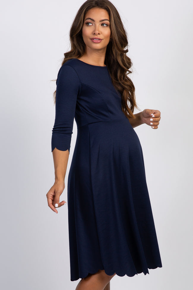 Tall Navy Blue Solid Scalloped Hem Maternity Dress