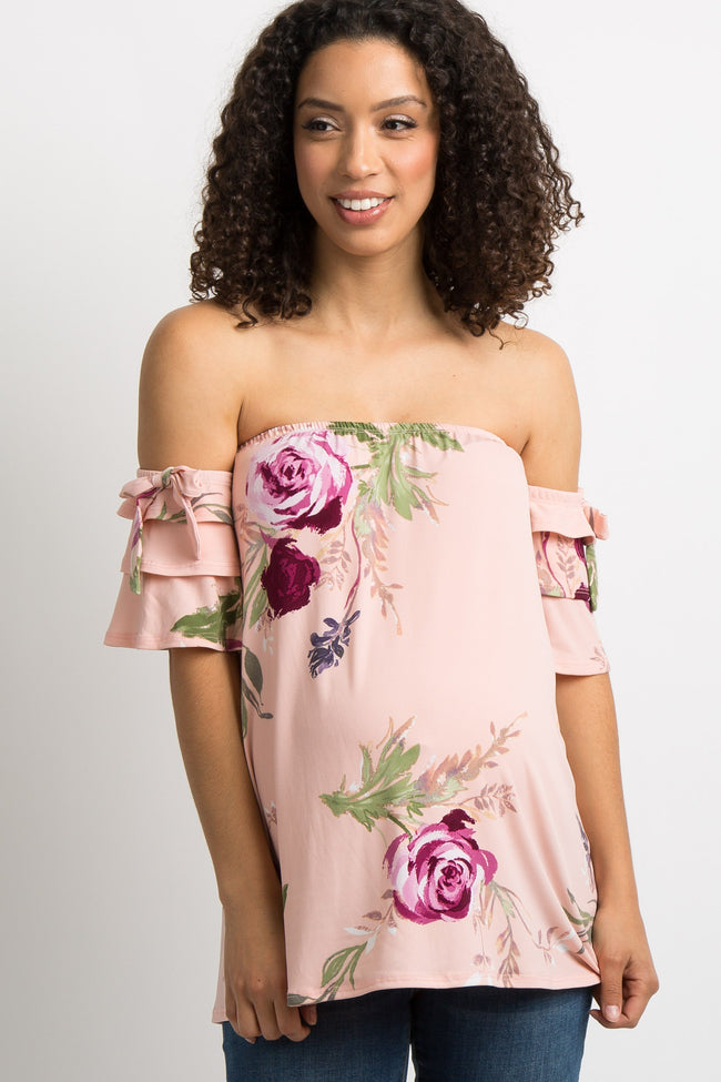 Light Pink Floral Off Shoulder Ruffle Sleeve Tie Maternity Top