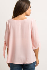 Light Pink Solid Cutout Sleeve Tie Maternity Top