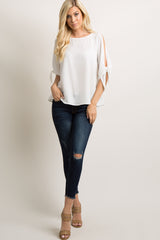 White Solid Cutout Sleeve Tie Top