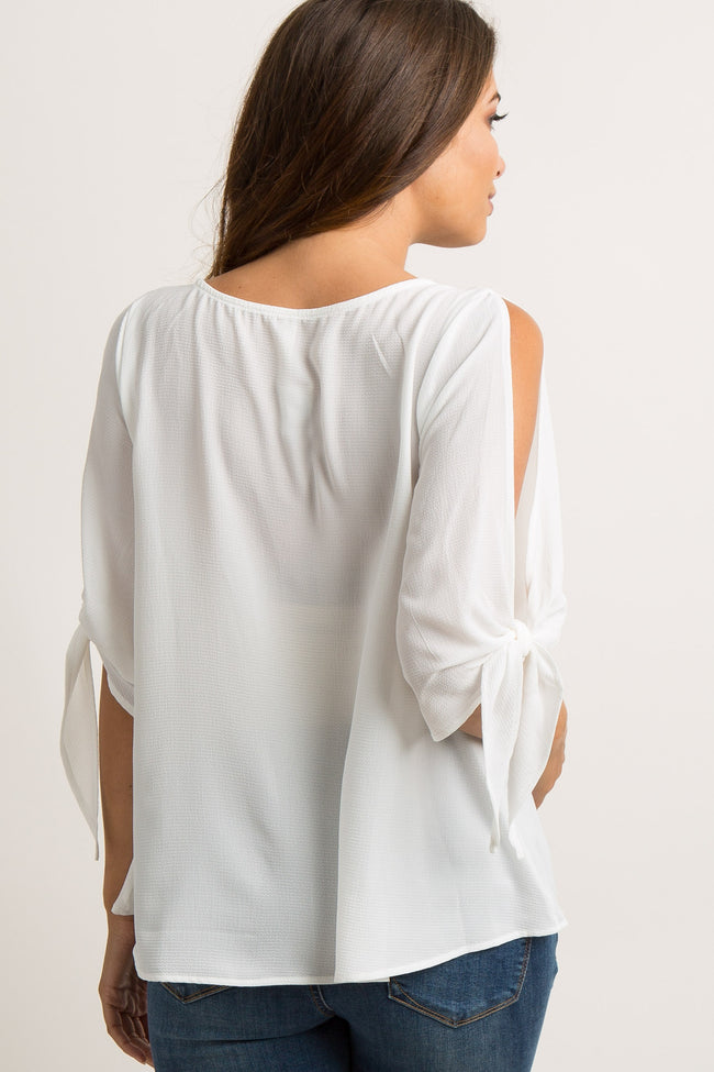 White Solid Cutout Sleeve Tie Maternity Top