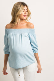 Light Blue Chambray Embroidered Smocked Maternity Top