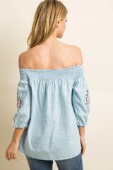 Light Blue Chambray Embroidered Smocked Top