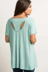Mint Faded Racerback Cutout Crochet Trim Maternity Top
