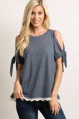 Navy Striped Crochet Trim Cutout Sleeve Tie Top