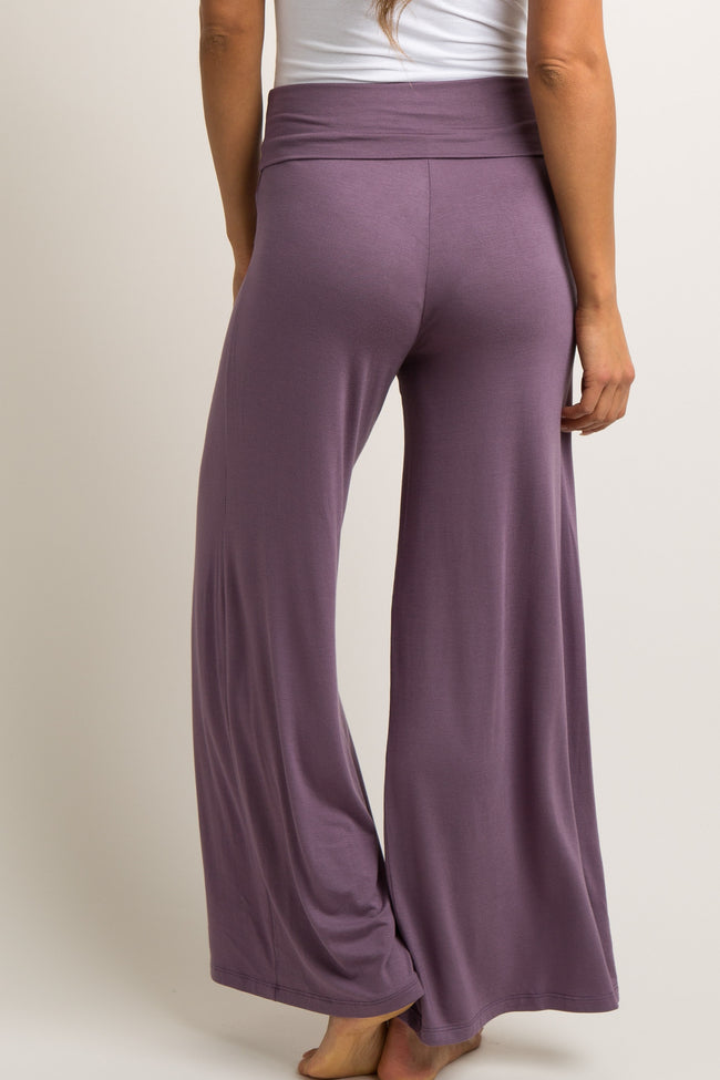 Lavender Solid Wide Leg Lounge Pants