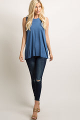 Blue Peplum Back Tank Top