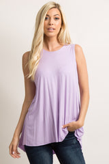 Lavender Peplum Back Maternity Tank Top