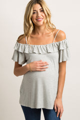 Heather Grey Striped Open Shoulder Maternity Top