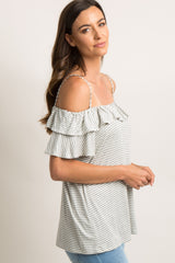 Heather Grey Striped Open Shoulder Top