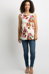 Ivory Floral Crochet Trim Sleeveless Peplum Maternity Top