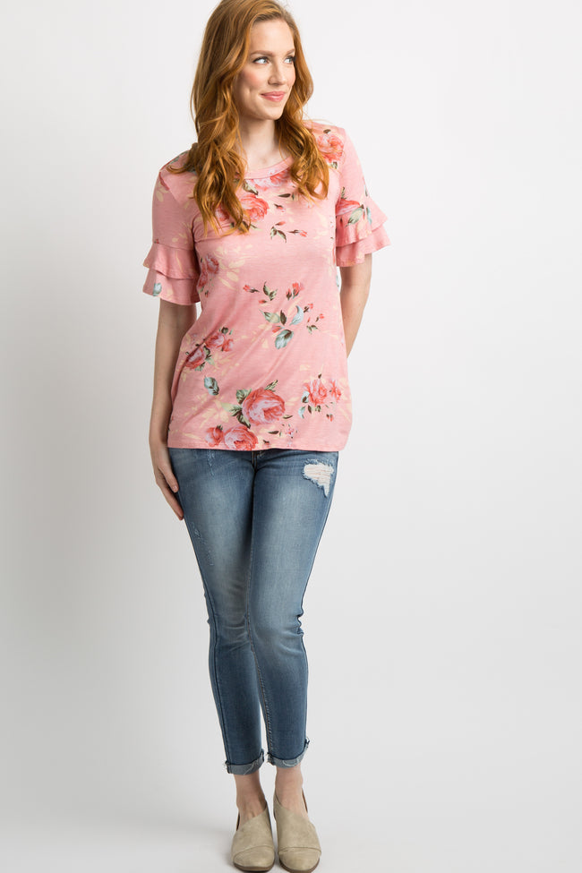 Peach Floral Layered Ruffle Sleeve Maternity Top