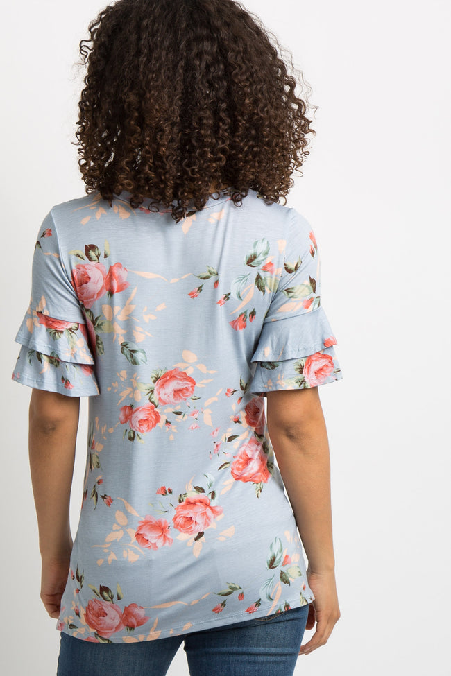 Light Blue Floral Layered Ruffle Sleeve Maternity Top