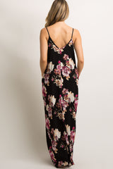 PinkBlush Black Floral V-Neck Cami Maxi Dress
