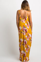 PinkBlush Yellow Floral V-Neck Cami Maxi Dress