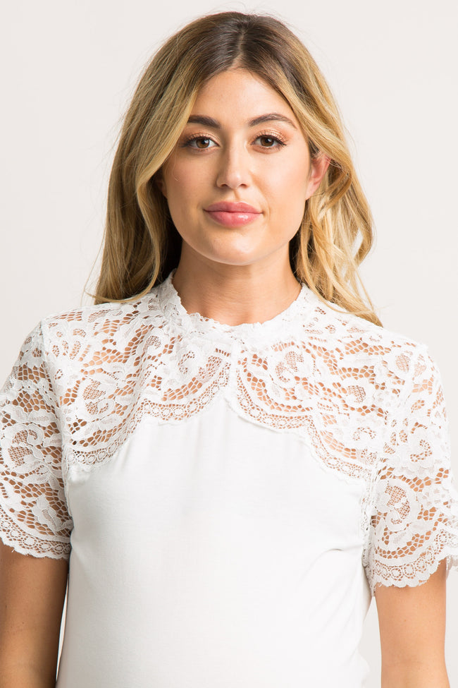 White Scalloped Lace Accent Mock Neck Maternity Top