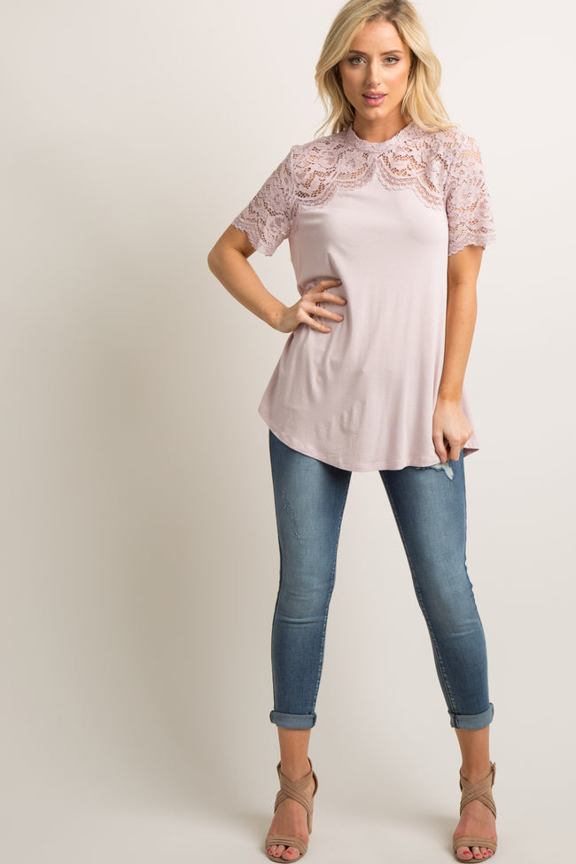 Light Pink Scalloped Lace Accent Mock Neck Top