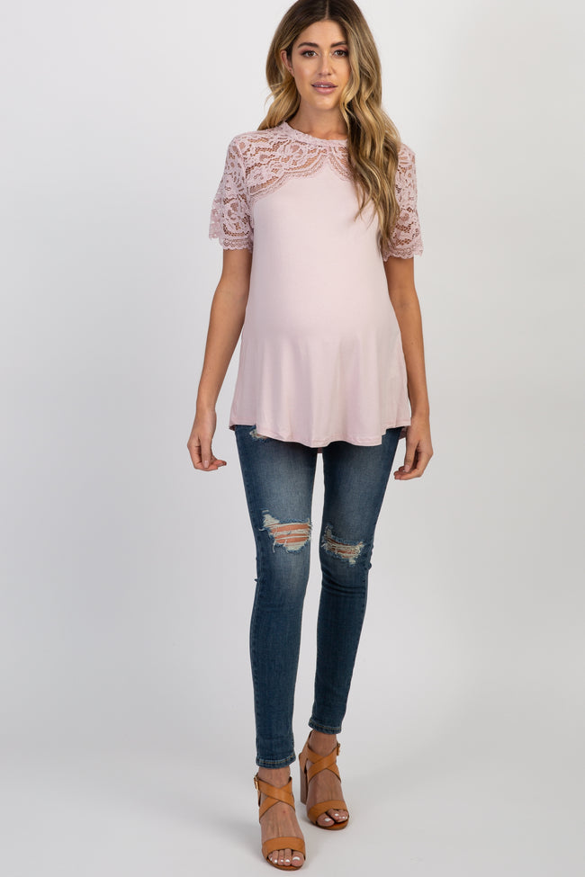 Light Pink Scalloped Lace Accent Mock Neck Maternity Top