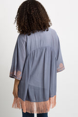 Blue Embroidered Fringe Trim Maternity Kimono