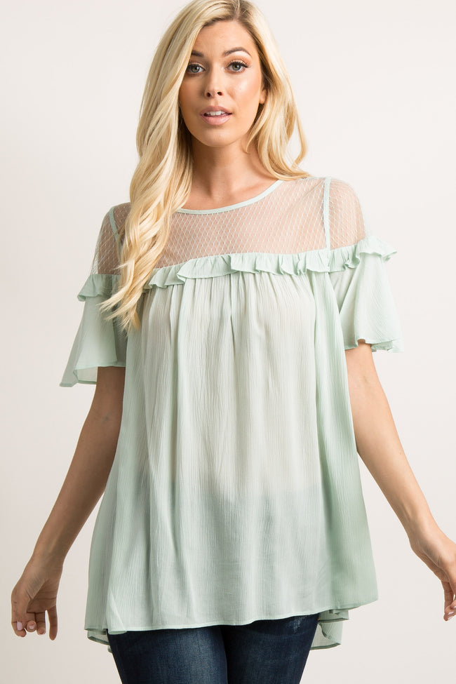 Mint Green Mesh Accent Ruffle Trim Pleated Top