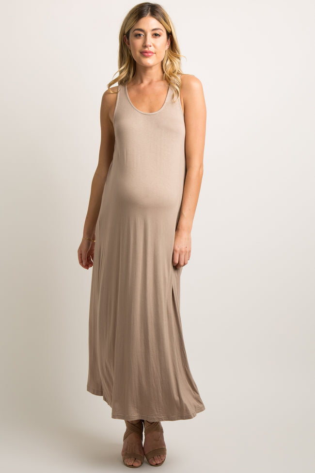 Mocha Solid Woven Knotted Back Maternity Maxi Dress