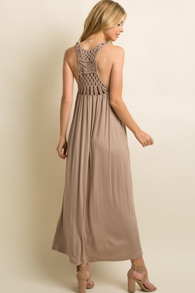 Mocha Solid Woven Knotted Back Maxi Dress
