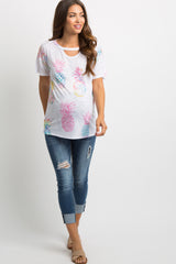 Multi-Colored Pineapple Print Ombre Cutout Maternity Top