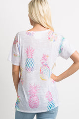 Multi-Colored Pineapple Print Ombre Cutout Top