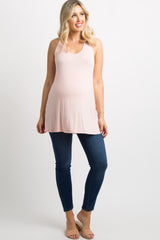 Light Pink Crochet Racerback Maternity Tank Top