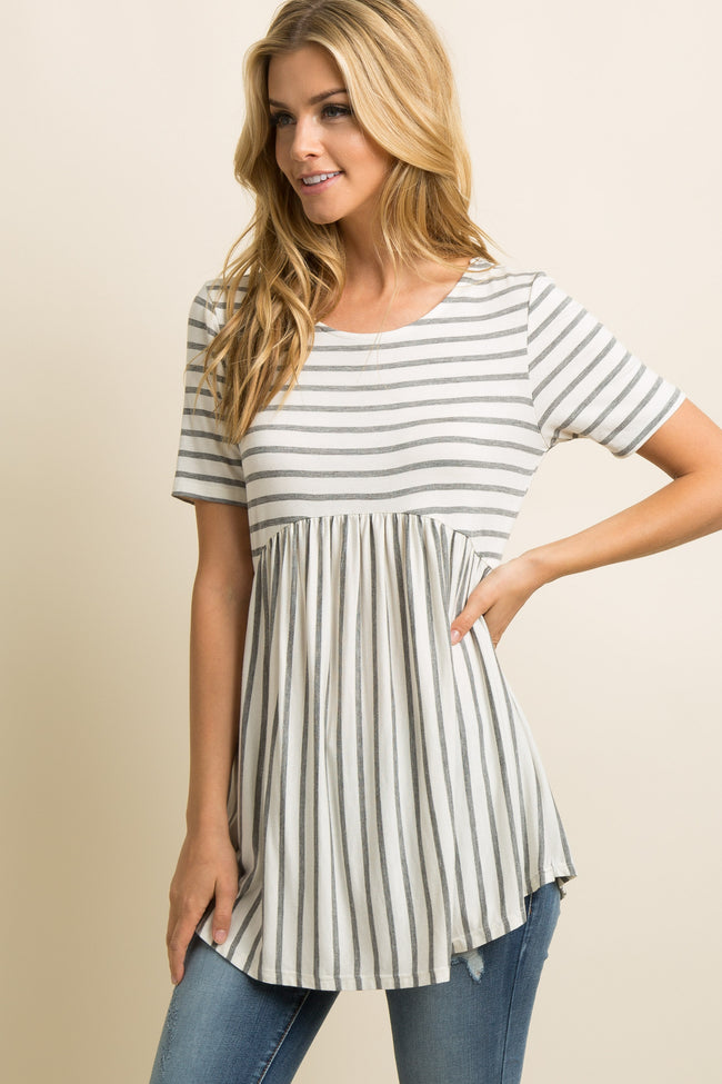 PinkBlush Grey Striped Crisscross Back Peplum Top