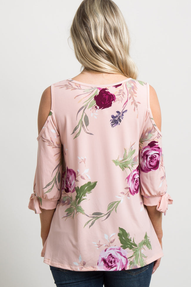 Pink Rose Print Sleeve Tie Cold Shoulder Maternity Top