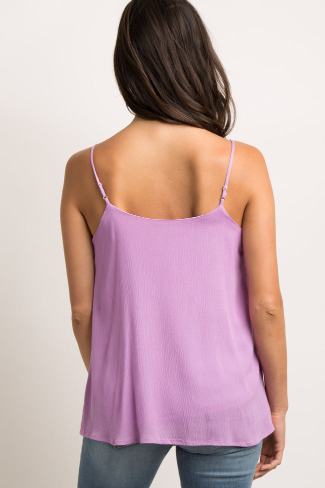 Lavender Solid Button Front Cami Top