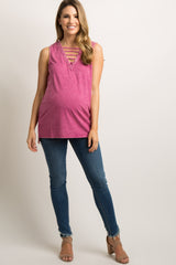 Magenta Faded Ladder Cutout Front Maternity Tank Top