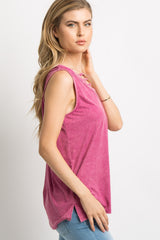 Magenta Faded Ladder Cutout Front Tank Top