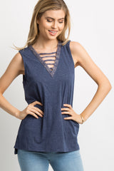 Navy Blue Faded Ladder Cutout Front Maternity Tank Top