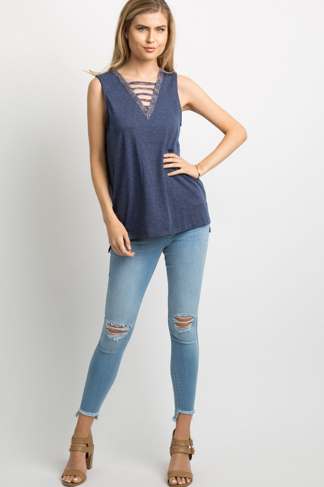 Navy Blue Faded Ladder Cutout Front Tank Top