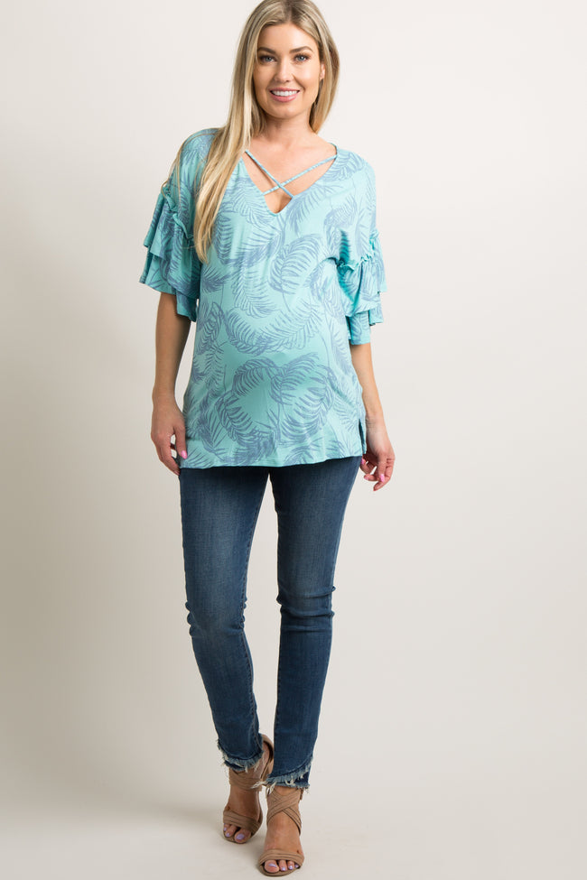 Blue Palm Print Crisscross Layered Ruffle Sleeve Maternity Top