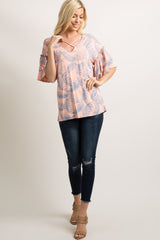 Peach Palm Print Crisscross Layered Ruffle Sleeve Top