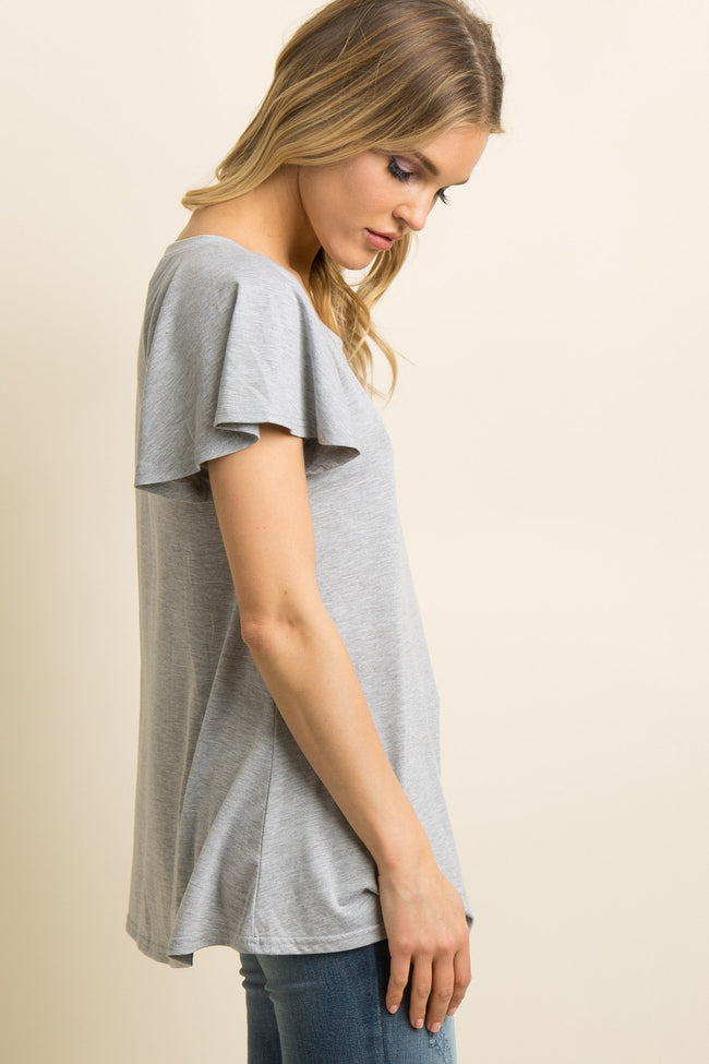 Heather Grey Cutout Crisscross Accent Top
