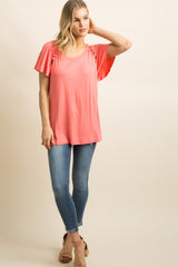 Salmon Solid Cutout Crisscross Accent Top