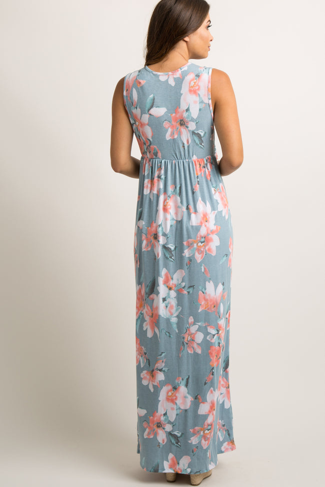 Light Blue Floral Sleeveless Knot Front Maternity Maxi Dress