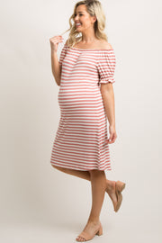 Mauve Striped Ruffle Off Shoulder Maternity Dress