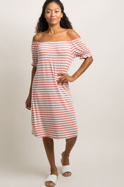 Mauve Striped Ruffle Off Shoulder Dress