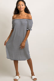 Navy Blue Striped Ruffle Off Shoulder Dress
